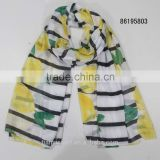 2016 Top Indian Yarn Fashion Lemon Fruit Printing Scarves Summer Scarf Shawl Custom Made