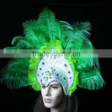 Gorgeous Feather Headdress Indian Feather Carnival Headdress (Green Color)