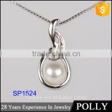 wholesale 925 sterling silver pendants fashion simple design pearl necklace silver necklace