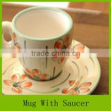 sunflower design hand painted glazed stoneware ceramic coffee mug with saucer for Korea market