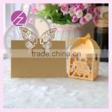 Hot sale laser cut customizable style beautiful butterfly wedding seat card Elephant /Baby carriage wedding favor candy box
