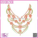 New design shirt collar motif Middle east quality Fashion customized hotfix rhinestone heat transfer motif