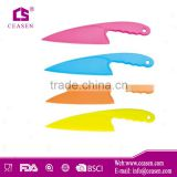 Promotinal high quality colorful plastic knife, plastic chef knife, plastic kitchen knife in FDA, LFGB & Food grade