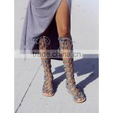 Ladies Lace Up Knee High Sandals Shoes Branded Stylish Suede High Thigh Boot