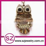 Antique night owl necklace enameled brass pendant necklace