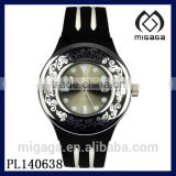 black strap vintage pattern bezel silicone anolog watch*nice design silicone watch for girls