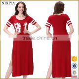 Stylish Women's Sports Style Short Sleeve O-neck Letter Print Straight Dress T-Shirt Dress