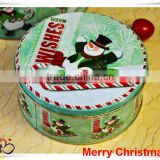 China Alibaba wholesale silver metal tin box/snowman tin container/christmas round tin box