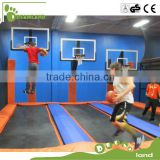 Extreme big indoor trampoline with basketball hoop