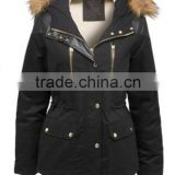 2015 new European French women jacket,padding coat with golden zipper,patchwork elbow sleeve