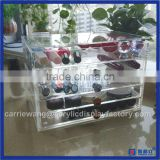 Hot sale!! transparent acrylic make makeup brush holder with 5 tier & Crystal knob