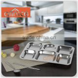 Wholesale Allnice Good price canteen stainless food tray/steel food plate/steel food tray