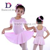 C2125 Child short sheeve skirted leotard, dance leotard with skirt ballet dance dress wholesale