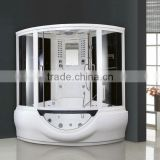 Acrylic two pivot doors glass shower cubicle wtih white whirlpool tub