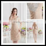Sexy 2013 Latest Spaghetti Strap Beaded Elegant Ruffles Sheath Short Prom Dresses xyy07-080