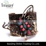 Ancient gold plating wide bangle with rhinestone mosaic butterfly charm bangle bracelet jewelry for women only