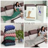 2016 USA Fashion Portable Super Soft Custom Knitted Mermaid Tail Blanket with packing box