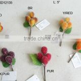 "2014 Hot Sale Artificial Fake Fruits Christmas 5"" Artificial Sugar Grapes With Glitter Christmas Pick"