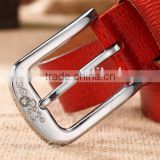 hot-selling fashion ladies and women's needle fastener with diamond red brown slim leather trousers waist belt