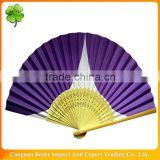 Chinese carved 21cm/38cm nature bamboo ribs one side purple printing paper customization folded hand fan in Zhejiang