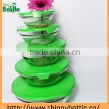5pcs glass salad bowl set with print plastic lid household for gift promotiion