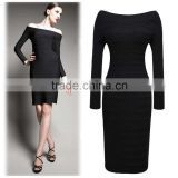 2016 New Spring Boat Neck Fashion Black Bandage Dress Long Sleeved OXL-140803