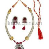 Indian manufacturers ruby and CZ studded necklace set. Indian ethnic style Fashion Jewelry. Brass metal