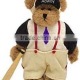 Logo sports teddy bear with baseball bat imprinted plush sports teddy bear with baseball bat bandana t-shirt ribbon mascot toys