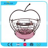 Apple Shape Metal Wire Rectangle Fruit Basket with Net Cover DSCN1413