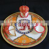 Marble Pooja Thali Plate Handicraft Religious Gift Decor Art And Craft Gallery Hindu God Puja Ganesha India