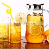 Glass Pitcher with Stainless Steel Lid/Water Carafe with Handle, Good Beverage Pitcher for Homemade Juice & Iced Tea