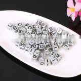 imitation silver letter alphabet letter beads diy silver CCB letter beads charms for jewelry accessories 2017