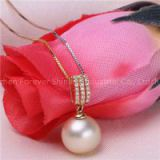 Latest Design 8-9mm Rose Gold White South Sea Pearl Pendant Silver Gold Jewelry For Girls Charming Decoration