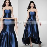 HC2224 Deep blue strapless sleeveless sweetheart neck gathered band bubble hem tea length zipper high low rainbow prom dresses