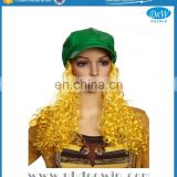Fashion Curly Yellow Fake Hair Wigs with Attached Green Hat