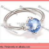 316l stainless steel captive bead rings with crystal nose ring lip rings body piercing jewelry ring in blue color