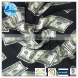Dollar Printed Used Knitting Machine Single Jersey Cotton Fabric for T-shirts Garment