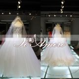 2015 Gorgeous diamond-encrusted exquisite pattern wedding dress/ball gown with hazy veil