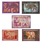 Embroidered Patch Sequins Patchwork table runner Indian Hand Elephant Wall Hanging Tapestries Tapestry Decorative Ethnic art