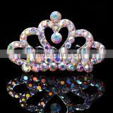 Mini Crystal Clean Transparent Rhinestone Princess Tiaras Crown Hair Comb 5 Teeth Combs Girl Party Hair Accessories