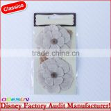 Disney Universal NBCU FAMA BSCI GSV Carrefour Factory Audit Manufacturer Blossom Burlap White Kissed Fabric Flowers