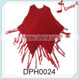 2015 New fashion wholesale ladies girls crochet flower wool embroidery kids knit poncho cape wraps