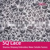 Glass yarn embroidery lace milk silk water soluble full lace for garment accessory