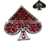Zinc Alloy Red Rhinestone Ace of Hearts Rivets Metal Accessories for Pet Collars