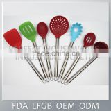 Hot sale fashionable wholesale Stainless Steel Handle silicone tool / silicone kitchen utensil set