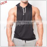 Low Cut Sides Plain 100% Polyester Dry Fit Racerback Stringer Muscle Hoodie                                                                         Quality Choice