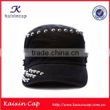 wholesale custom fashion black cowboy military hat with metal button
