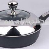 28cm Die Cast Aluminium Deep Fry Pan with semi S/S-glass Lid