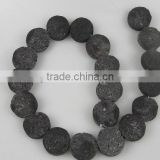 20mm natural Lava Stone rough coins hot sale gemstone
