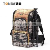 Jungle Camo Convertible and Functional Outdoorsy DSLR and Camera Shoulder Backpack Bag with Gear and Accessories-Camo & Black